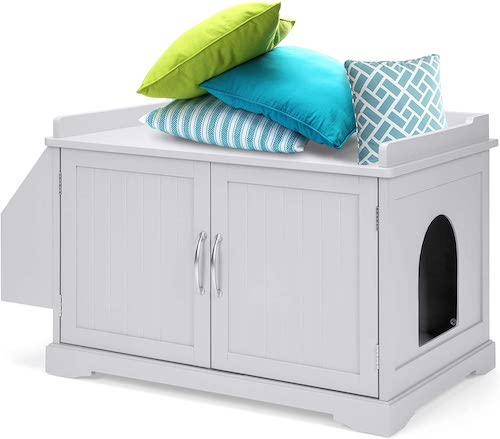 white litter box cabinet with hole