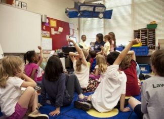 children learning in a classroom